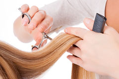 Cutting long hair Royalty Free Stock Photos