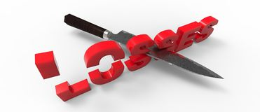 CUTTING losses. A 3d losses word, cut in half with a knife Royalty Free Stock Photos