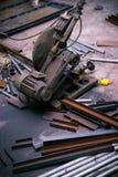 Cutting machine and steel materials Stock Photo