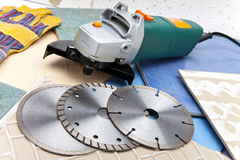 Three azmazny circles for are sharp construction materials and the detachable machine Stock Photography