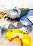 Yellow protective construction points three azmazny circles for are sharp construction materials and the detachable machine Stock Photos