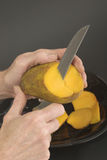 Cutting A Mango 1 Royalty Free Stock Photos