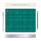 Cutting Mat and Equipment Set Royalty Free Stock Photography