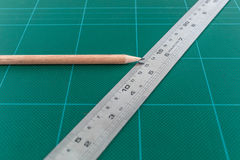 Cutting Mat & Pencil Stock Images