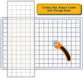 Cutting Mat, Rotary Blade Cutter, See Through Ruler royalty free illustration