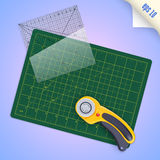 Cutting mat, square transparent ruler with millimeter scale and Stock Image