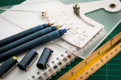 Cutting mats , Pen drawings , adjust angle tool , scale ruler , Stock Photo