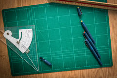 Cutting mats , Pen drawings , adjust angle tool , scale ruler  o Stock Photography