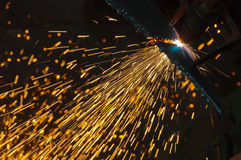 Cutting metal with a gas torch Royalty Free Stock Photo