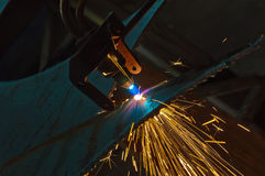 Cutting metal with a gas torch Stock Image