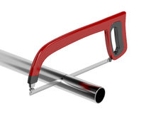 Cutting metal pipe Stock Image