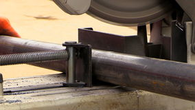 Cutting metal pipes stock video footage