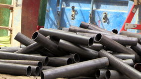 Cutting metal pipes stock video