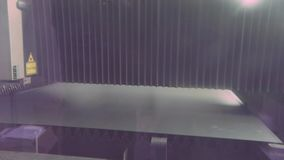 Metal cutting with a plasma cutter. Cutting metal at the plant, cutting metal at the plant CNC machine in a closed box stock footage