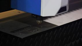 Cutting of metal. Sparks fly from laser.  stock video footage