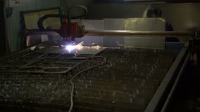 Cutting of metal. Sparks fly from plasma and metal interaction. Plasma metal cutting machine. Sparks fly from plasma and metal interaction stock video
