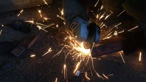 Video cutting a metal workpiece with a plasma spark cutter stock video