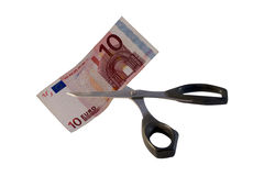 Cutting money Stock Images