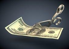 Cutting Dollar bill money in half Stock Image