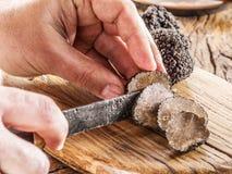 Free Cutting Of Black Truffle. Royalty Free Stock Photos - 85421748