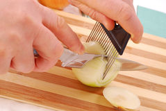 Cutting onion Stock Photo