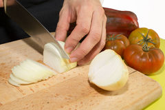 Cutting onion Stock Photography