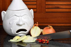 Cutting onions in tears. Still life cutting onions with chili peppers royalty free stock images