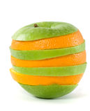 Cutting from an orange and an apple Royalty Free Stock Image