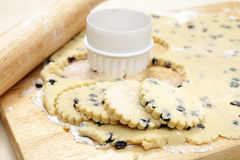 Cutting out Welsh cakes Royalty Free Stock Images