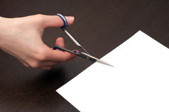 Cutting the paper Stock Photography