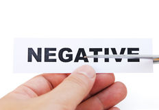 Cutting paper of negative. With clipping path Royalty Free Stock Image