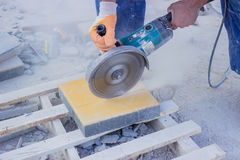 Cutting Pavers 3 Royalty Free Stock Photo