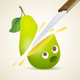 Cutting the pear Stock Image
