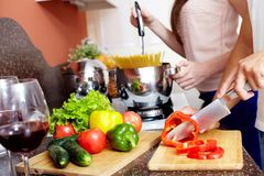 Cutting pepper Stock Images