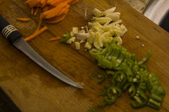 Cutting pepper and onions Stock Photography