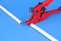 The cutting pex pipe Stock Images