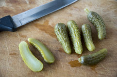 Cutting pickles Royalty Free Stock Photos