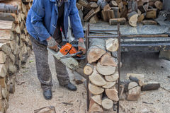 Cutting pile of wood with a chainsaw 6 Stock Image