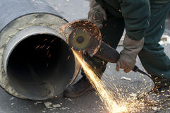 Cutting of pipes Royalty Free Stock Images