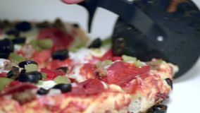 Cutting Pizza stock video footage