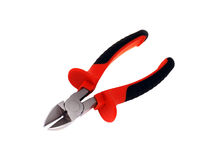 Cutting pliers. With convenient red handles. The isolated object. A white background Royalty Free Stock Photos