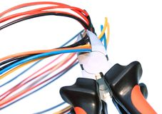 Free Cutting Pliers & Cables Stock Photography - 13658322