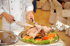 Cutting Pork Royalty Free Stock Images