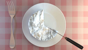 Cutting a portion of creamy cheese on a plate. Stock Photography