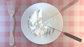 Cutting a portion of creamy cheese on a plate. stock footage