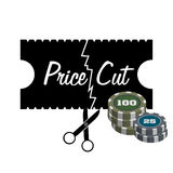 Cutting prices. Abstract colorful illustration with coins and black scissors cutting a black paper on which is written the text price cut. Price cut theme Royalty Free Stock Image