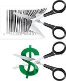 Cutting prices. Two concepts of scissors cutting prices Royalty Free Illustration