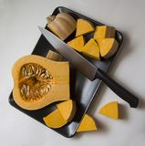Cutting pumpkin Royalty Free Stock Photo