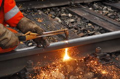Cutting a rail Royalty Free Stock Photo