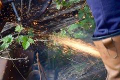Cutting through a rail Stock Photos